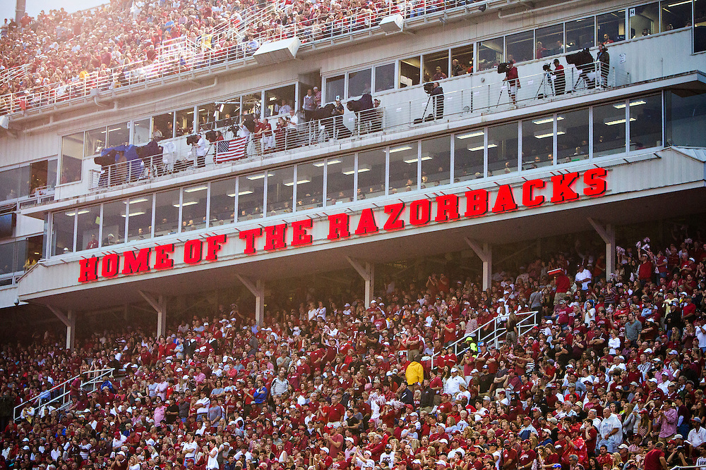 FAYETTEVILLE, AR - SEPTEMBER 28:  Fans of the Arkansas Razorbacks during a game against the Texas A&M Aggies at Razorback Stadium on September 28, 2013 in Fayetteville, Arkansas.  The Aggies defeated the Razorbacks 45-33.  (Photo by Wesley Hitt/Getty Images) *** Local Caption ***