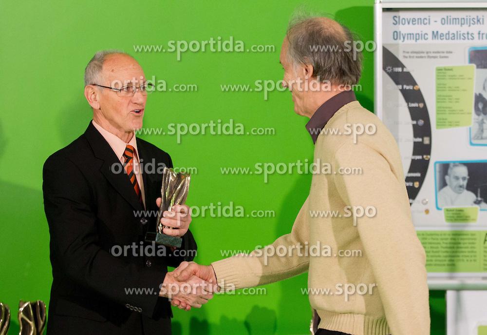 Miroslav Cerar and Andrej Pregelj during the 2012 Slovenia Hall of Fame induction ceremony, on December 19, 2012 in Arena Stozice, Ljubljana, Slovenia. (Photo By Vid Ponikvar / Sportida.com)