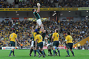 Danie Rossouw secures the line out ball for South Africa during action from the Tri-Nations Rugby Test Match played between Australia and South Africa at Suncorp Stadium (Brisbane, Australia) on Saturday 24th July 2010<br /> <br /> Conditions of Use : This image is intended for Editorial use only (news or commentary, print or electronic) - Required Images Credit &quot;Steven Hight - Auraimages/Photosport