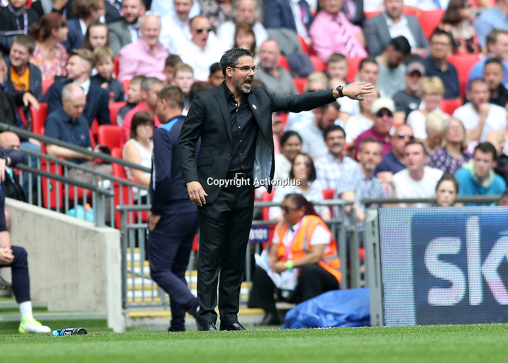May 29th 2017, Wembley Stadium, London, England; EFL Championship playoff final, Huddersfield Town Head Coach David Wagner shouting instructions from the touchline