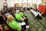 Mineola, New York, USA. 15th Feb, 2019. Invited speaker addresses (L-R, at table) NYS Senator JOHN BROOKS, Assemblyman STEVE ENGLEBRIGHT, NYS Sen. TODD KAMINSKY, and Assemblywoman JUDY GRIFFIN, during NYS Senate Public Hearing on Climate, Community & Protection Act, Bill S7253, sponsored by Sen. Kaminsky, Chair of Senate Standing Committee on Environmental Conservation. This 3rd public hearing on bill to fight climate change was on Long Island.