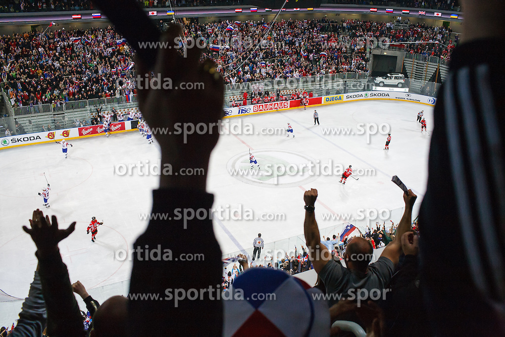 Fans and players celebrate victory during ice-hockey match between Austria and Slovenia at IIHF World Championship DIV. I Group A Slovenia 2012, on April 21, 2012 at SRC Stozice, Ljubljana, Slovenia. (Photo By Matic Klansek Velej / Sportida.com)
