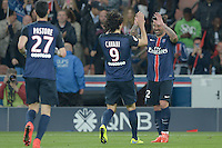 joie PSG / Ezequiel Lavezzi / Edinson Cavani - 23.05.2015 - PSG / Reims - 38eme journee de Ligue 1<br />