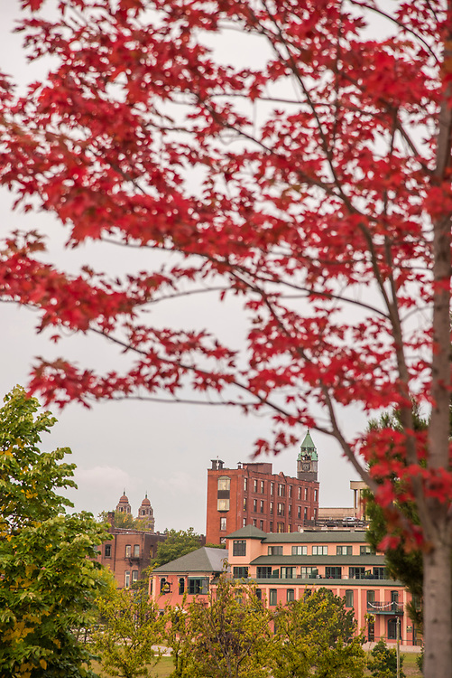 Downtown landmarks with fall color at Marquette, Michigan.