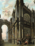 Jupiter Striking a King with a Bolt of Lightning  in the Courtyard of a Palace'. Oil on canvas.  Nicola Bertuzzi or Bertucci (1710-1777). Jupiter/Jove Roman god of the sky and Thunder, chief of the gods. Greek Zeus Mythology
