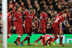 Liverpool's Roberto Firmino celebrates scoring his side's first goal of the game during the UEFA Champions League, Group E match at Anfield, Liverpool.
