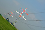 skewed pic of electric pylons