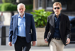 © London News Pictures. 19/06/2016. London, UK. Leader of the Labour Party JEREMY CORBYN (left) arrives at BBC Broadcasting House in London with Director of Strategy SEUMAS MILNE (right) to appear on the Andrew Marr Show. Photo credit: Ben Cawthra/LNP