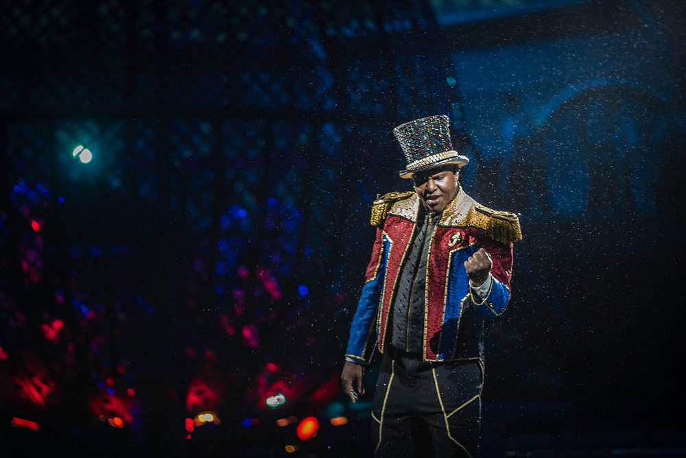 BALTIMORE, MD -- 4/21/17 -- Ringmaster Johnathan Lee Iverson is in his eighth edition of Ringling Bros. Paulo dos Santos plays sidekick throughout the show. Ringling Bros, the self-proclaimed Greatest Show on Earth, is in the final leg of a 146 year run. The final performances will be held in May. Out of This World, one of two circus units, recently had performances in Baltimore, led by Jonathan Lee Iverson, the first African-American ringmaster in the show's history…by André Chung #_AC27717