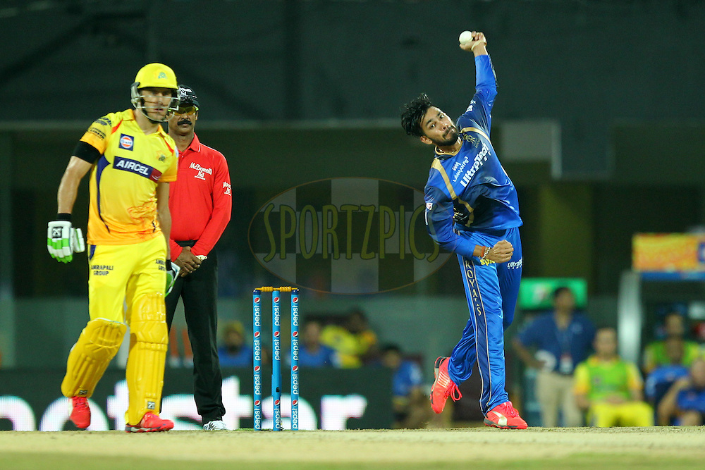 Ankit Sharma  of Rajasthan Royals bowls during match 47 of the Pepsi IPL 2015 (Indian Premier League) between The Chennai Superkings and The Rajasthan Royals held at the M. A. Chidambaram Stadium, Chennai Stadium in Chennai, India on the 10th May 2015.Photo by:  Prashant Bhoot / SPORTZPICS / IPL