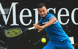 STUTTGART, June 16, 2018  Nick Kyrgios of Australia returns a shot during the quarterfinal with Feliciano Lopez of Spain at the ATP Mercedes Cup tennis tournament in Stuttgart, Germany, on June 15, 2018. Nick Kyrgios won 2-1. (Credit Image: © Philippe Ruiz/Xinhua via ZUMA Wire)