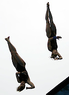 Austria's Marion Reiff and Anja Richter make their fifth dive during the preliminary round of the women's 10M Synchro Platform Dive at the FINA World Championships in Montreal, Quebec Sunday 17 July, 2005.