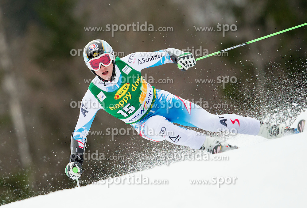 REICHELT Hannes of Austria competes during the 1st Run of 7th Men's Giant Slalom - Pokal Vitranc 2013 of FIS Alpine Ski World Cup 2012/2013, on March 9, 2013 in Vitranc, Kranjska Gora, Slovenia. (Photo By Vid Ponikvar / Sportida.com)