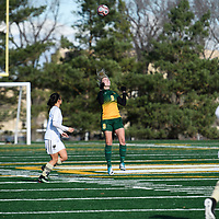4th year midfielder Nikita Senko (9) of the Regina Cougars in action during the Women's Soccer home game on October 22 at U of R Field. Credit: Arthur Ward/Arthur Images
