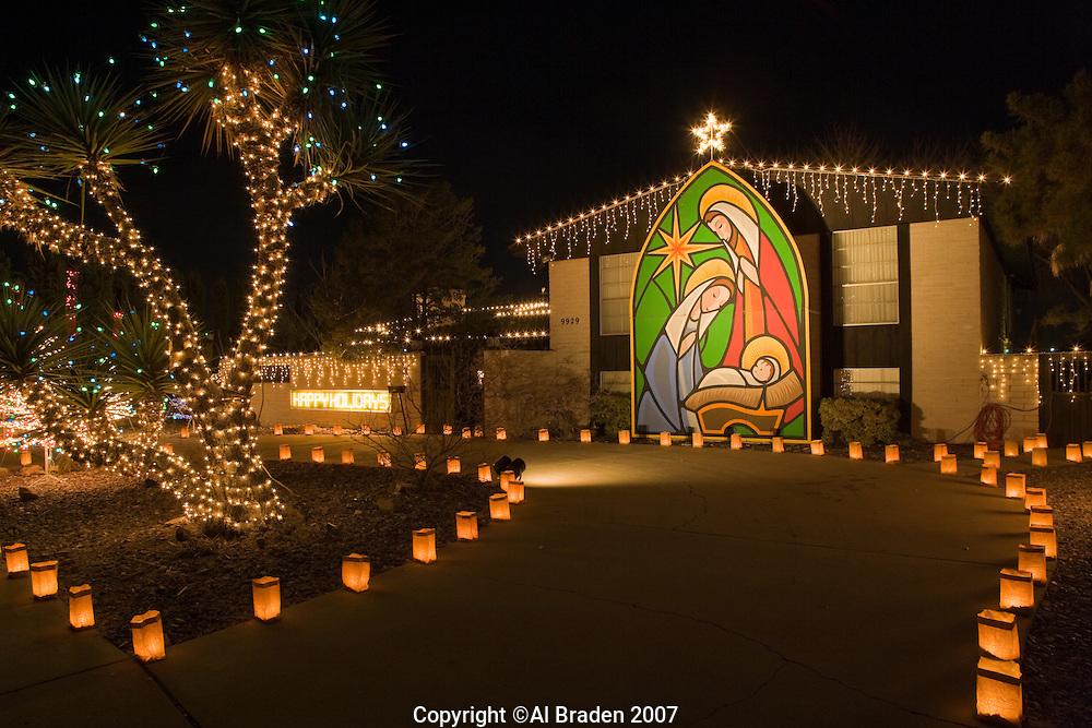 Luminarias for Christmas Eve at Eastridge, neighborhood, El Paso, Texas.