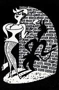 Soviet Russian cartoon satire on modern woman. 1980's