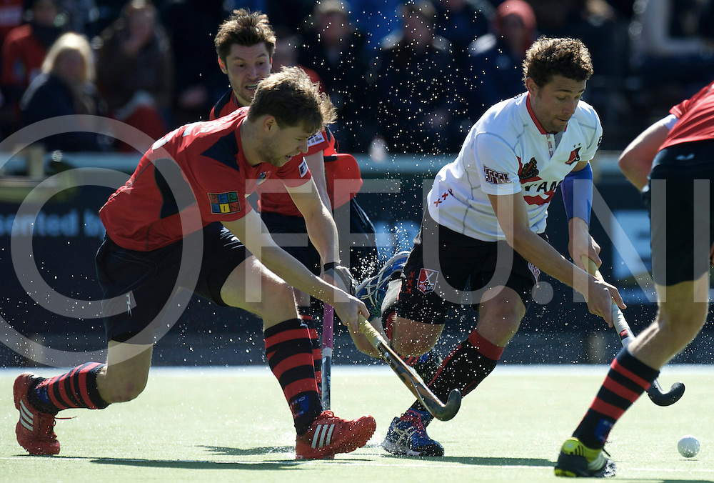 Amstelveen - Euro Hockey league KO16.Amsterdamse H&BC - Berliner HC.foto: Santi Freixa (white) and Martin Zwicker (red) and Martin Häner (red)..FFU PRESS AGENCY COPYRIGHT FRANK UIJLENBROEK.