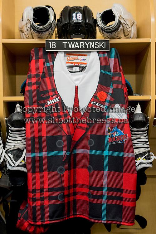 KELOWNA, CANADA - MARCH 10:  The locker of Carsen Twarynski #18 of the Kelowna Rockets on March 10, 2018 at Prospera Place in Kelowna, British Columbia, Canada.  (Photo by Marissa Baecker/Shoot the Breeze)  *** Local Caption ***