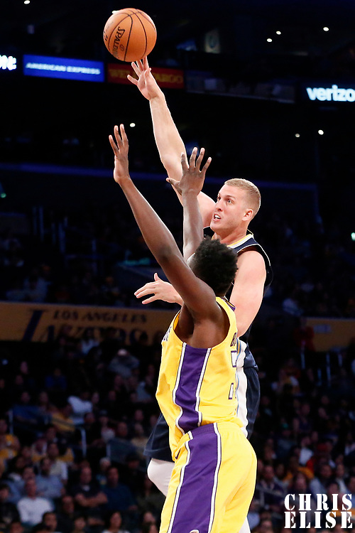02 October 2017: Denver Nuggets center Mason Plumlee (24) goes for the baby hook over Los Angeles Lakers center Thomas Bryant (31) during the Denver Nuggets 113-107 victory over the LA Lakers, at the Staples Center, Los Angeles, California, USA.