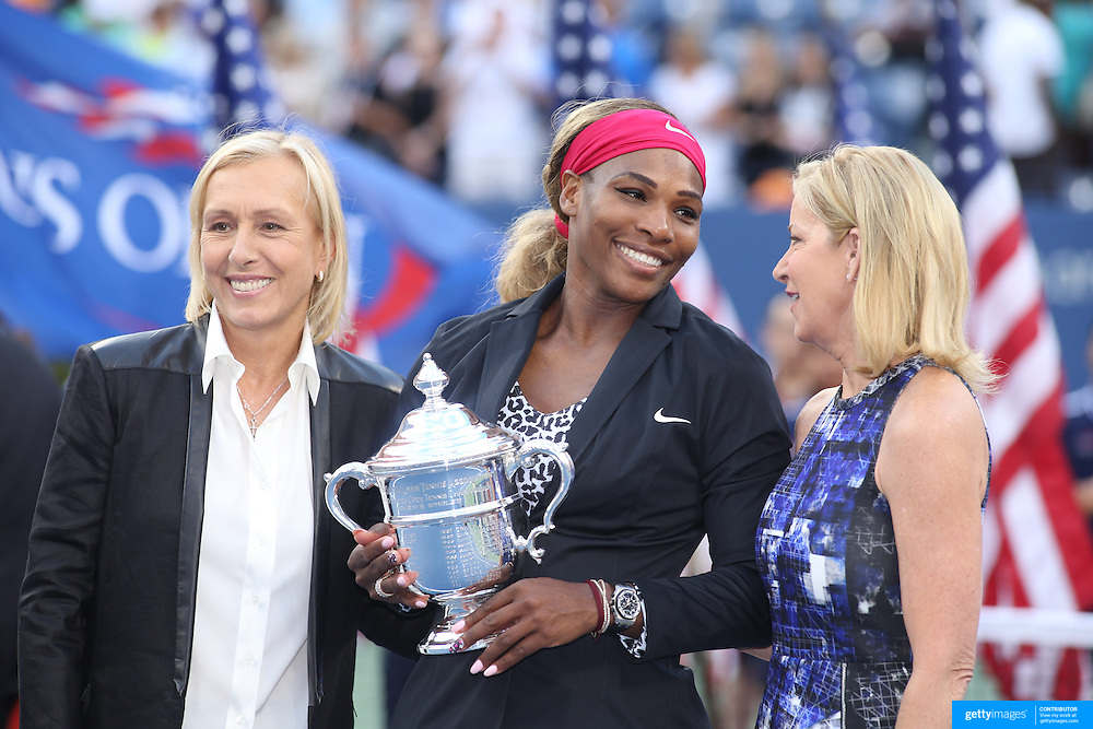 Serena Williams, USA, with Martina Navratilova, (left), and  Chris Evert,  after her win against Caroline Wozniacki, Denmark, in the Women's Singles Final during the US Open Tennis Tournament, Flushing, New York, USA. 7th September 2014. Photo Tim Clayton