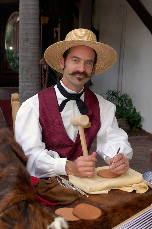 Leatherwork and crafts done by old time characters, Old Town San Diego State Historic Park, San Diego, California, United States of America