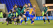 Corner action during the Sky Bet League 1 match between Shrewsbury Town and Rochdale at Greenhous Meadow, Shrewsbury, England on 1 March 2016. Photo by Daniel Youngs.