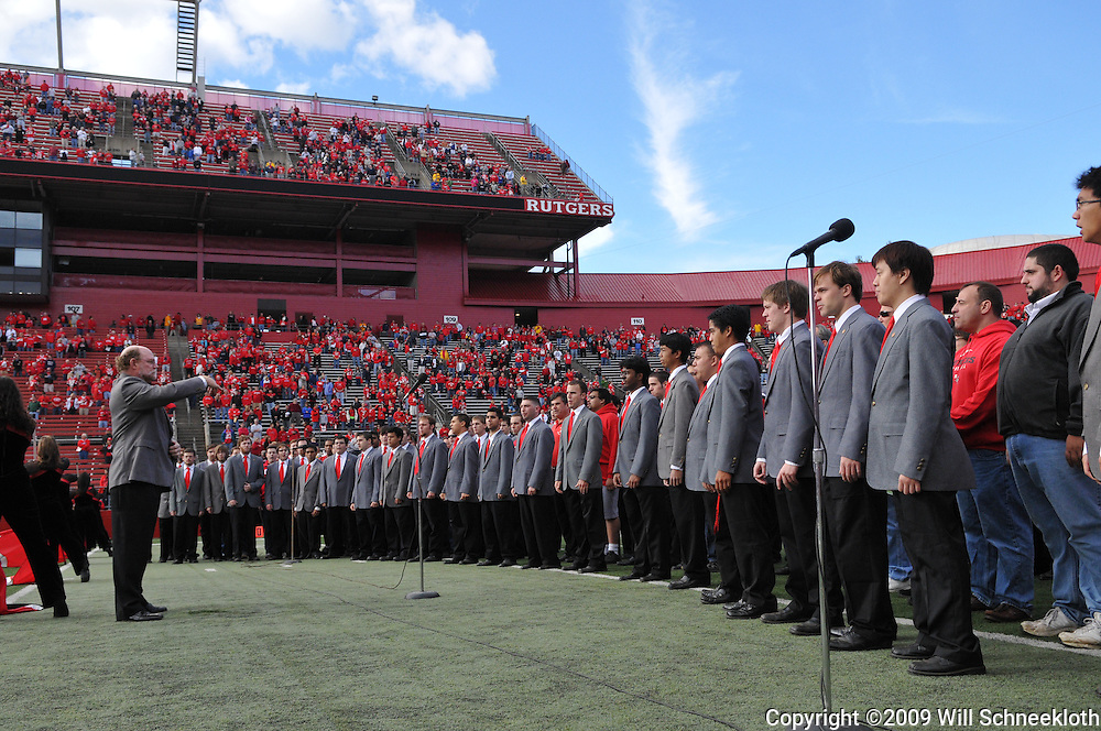 Oct 10, 2009; Piscataway, NJ, USA; The Rutgers University Glee Club performs before the start of NCAA college football action between Rutgers and Texas Southern at Rutgers Stadium.