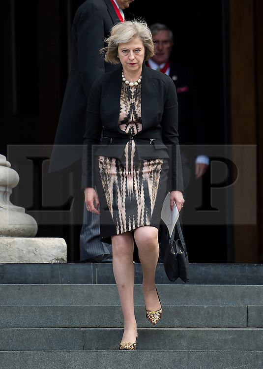 © Licensed to London News Pictures. 07/07/2015. London, UK. Home secretary THERESA MAY leaving the service. . A church service held at St Paul's Cathedral In London on the 10th anniversary of the 7/7 bombings in London which killed 52 civilians and injured over 700 more.  Photo credit: Ben Cawthra/LNP
