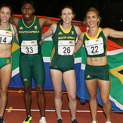 Durban, SOUTH AFRICA, 26,June, 2016 - South African Women winners in the Women 4 x 400m Final during Day 5 The 20th CAA African Senior Athletics Championships will take place at the Kings Park Athletics Stadium in Durban, South Africa from June 22-26, 2016. (Photo by Steve Haag)