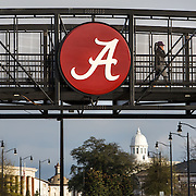 TUSCALOOSA,AL-JAN15: Students walk over a footbridge connecting new residential buildings with the older part of campus at the University of Alabama in Tuscaloosa, AL, January 15, 2016. The University of Alabama, founded in 1831, once served mainly Alabama students as the state's flagship institution. Now more than 60 percent of entering freshmen come from out of state. The university has had one of the largest shifts toward out-of-state enrollment in the country in the past decade. (Photo by Evelyn Hockstein/For The Washington Post)