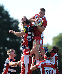 Freddie Clarke of Gloucester United wins the ball in a line-out - Mandatory by-line: Paul Knight/JMP - 02/10/2016 - RUGBY - Hyde Park - Taunton, England - Bristol United v Gloucester United - Aviva A League