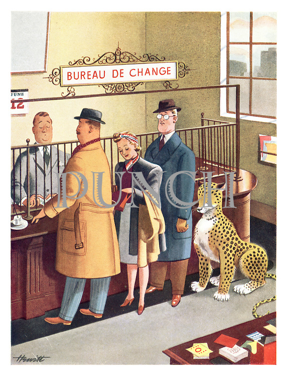 (Leopard waiting in line at a Bureau de Change)
