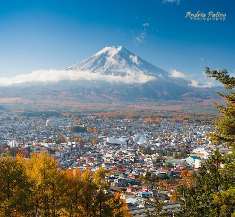 View of Mount Fuji and  Fujiyoshida City, Japan