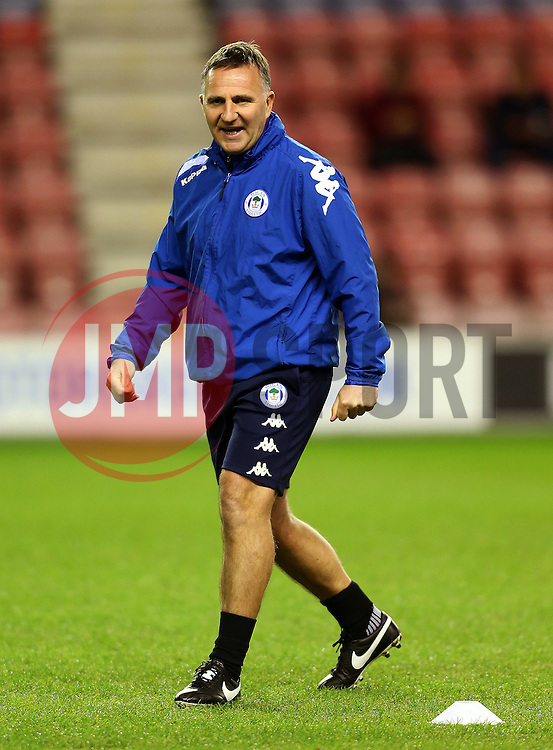 Wigan Athletic manager Warren Joyce conducts his teams warm up - Mandatory by-line: Matt McNulty/JMP - 07/02/2017 - FOOTBALL - DW Stadium - Wigan, England - Wigan Athletic v Norwich City - Sky Bet Championship