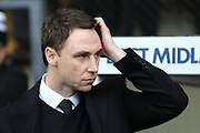Jamie Fullerton manager of Notts County during the Sky Bet League 2 match between Notts County and AFC Wimbledon at Meadow Lane, Nottingham, England on 23 January 2016. Photo by Stuart Butcher.