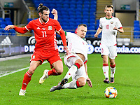 Football - 2019 / 2020 International Friendly - Wales vs. Belarus<br /> <br /> Gareth Bale of Wales & Sergey Matveychik of Belarus, at Cardiff City Stadium.<br /> <br /> COLORSPORT/WINSTON BYNORTH