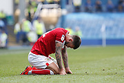 Josh Brownhill of Bristol City goes down after taking a knock during the EFL Sky Bet Championship match between Sheffield Wednesday and Bristol City at Hillsborough, Sheffield, England on 22 April 2019.