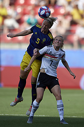 June 29, 2019 - Rennes, France - Nilla Fischer (Vfl Wolfsburg) of Sweden  and Lea Schueller (Sgs Essen) of Germany battle for the ball during the 2019 FIFA Women's World Cup France Quarter Final match between Germany and Sweden at Roazhon Park on June 29, 2019 in Rennes, France. (Credit Image: © Jose Breton/NurPhoto via ZUMA Press)