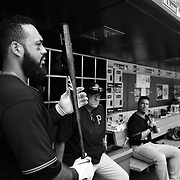 Pedro Alvarez, Pittsburgh Pirates, preparing to bat in the dugout during the New York Mets Vs Pittsburgh Pirates MLB regular season baseball game at Citi Field, Queens, New York. USA. 16th August 2015. Photo Tim Clayton