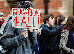 "©under licence to London News Pictures. 30/11/2010.  Student protesting against increased tuition Fees display banner with ""Education 4 All!"" at Cambridge University today (30/11/2010). Photo credit should read Jason Patel/London News Pictures"