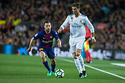 07 Cristiano Ronaldo from Portugal of Real Madrid defended by 18 Jordi Alba from Spain of FC Barcelona during the Spanish championship La Liga football match between FC Barcelona and Real Madrid on May 6, 2018 at Camp Nou stadium in Barcelona, Spain - Photo Xavier Bonilla / Spain ProSportsImages / DPPI / ProSportsImages / DPPI