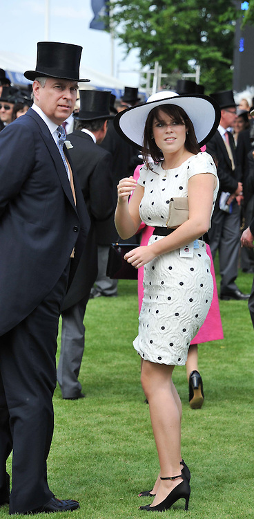 HRH The DUKE OF YORK and PRINCESS EUGENIE OF YORK at the Investec Derby at Epsom Racecourse, Epsom Downs, Surrey on 4th June 2011.