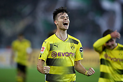 DORTMUND, Sept. 24, 2017  Julian Weigl of Borussia Dortmund celebrates after scoring during the Bundesliga match between Borussia Dortmund and Borussia Moenchengladbach at the Signal Iduna Park in Dortmund, Germany, on Sept. 23, 2017. Dortmund won the match by 6-1. (Credit Image: © Joachim Bywaletz/Xinhua via ZUMA Wire)