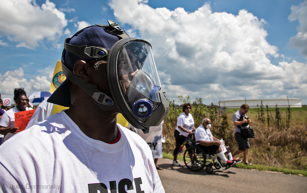 """Pastor Harry Joseph during the march on Burton Lane, in St. James, Louisiana. The march was one of  hundreds of 'Rise for Climate"""" events world wide on Sept 8, 2018."""