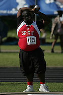 London, Ontario ---07/06/08--- Orrette Gray of St. Marcellinus in Mississauga competes in the Shot put at the 2008 OFSAA Track and Field meet in Hamilton, Ontario..Sean Burges