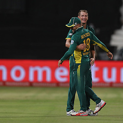 Chris Morris of the (South African Proteas) with Faf du Plessis of the (South African Proteas) during the 2nd ODI Momentum One-Day International (ODI) series South African and Sri Lanka at Kingsmead, Durban, South Africa.1st February 2017 - (Photo by Steve Haag)