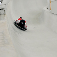 27 February 2007:  Melissa Hollingsworth of Canada slides through curve 13 and a 6th place finish in the 4th run at the Women's Skeleton World Championships competition on February 27 at the Olympic Sports Complex in Lake Placid, NY.