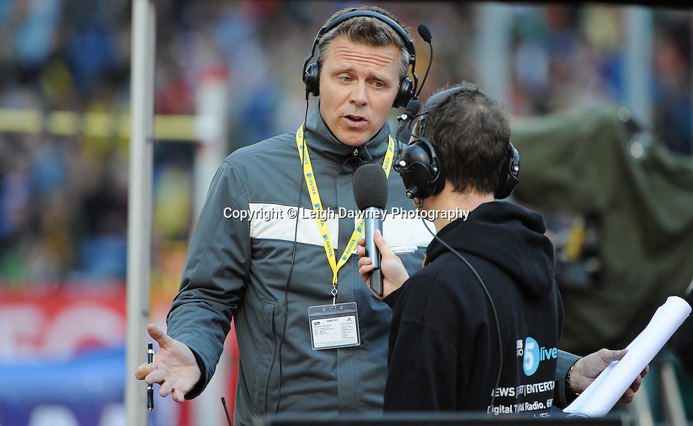Steve Backley OBE former world record holder of  Javlelin being interviewed at The Aviva Grand Prix World Athletics at Crystal Palace UK on 13th August 2010. © Photo credit: Leigh Dawney
