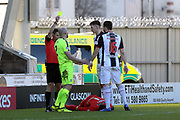 St Mirren defender Paul McGinn (2) is shown the yellow card during the Ladbrokes Scottish Premiership match between St Mirren and Hibernian at the Paisley 2021 Stadium, St Mirren, Scotland on 27 January 2019.