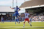 Peterborough United defender Rhys Bennett (16) climbs to head this clear during the EFL Sky Bet League 1 match between Peterborough United and Blackpool at The Abax Stadium, Peterborough, England on 29 September 2018.